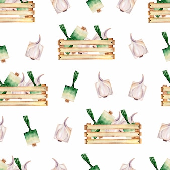 Watercolor garden  organic vegetables seamless pattern and wooden box.