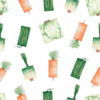 Watercolor garden organic vegetables seamless pattern.