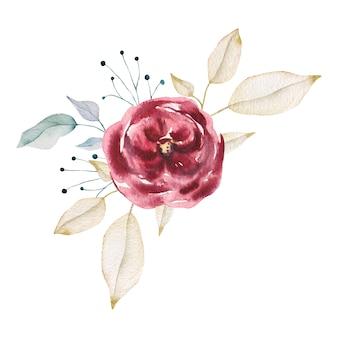 水彩の庭のバラ