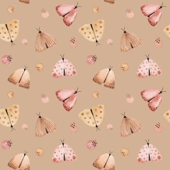 水彩の優しい蝶、蛾のシームレスなパターン。柔らかい水彩画の背景、テキスタイルプリント