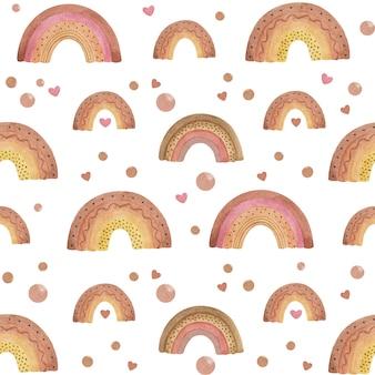 水彩の優しい虹のシームレスなパターン。手描きの赤ちゃんの壁紙、パステルレインボー