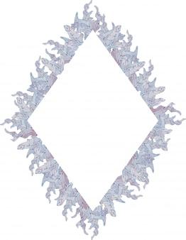 Акварель геометрическая рамка с синими и светло-фиолетовыми листьями. рисованной иллюстрации летний шаблон.