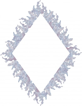 Watercolor geometrical frame with blue and light purple leaves. hand-drawn illustration. summer template.