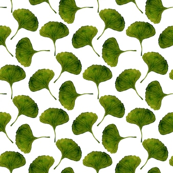 Watercolor ginkgo leaves seamless pattern.