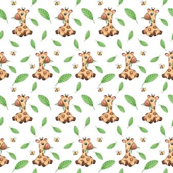 水彩キリンシームレスパターン、かわいい野生動物の繰り返しパターン、熱帯のスクラップブック紙