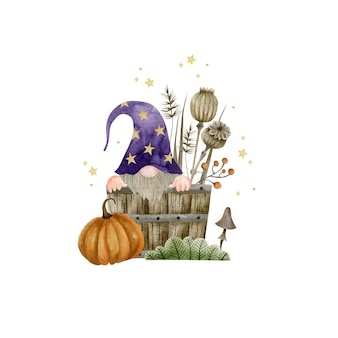 Акварельный гном в деревянной бочке тыква грибные растения хэллоуин тыква праздник