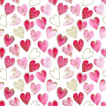 Watercolor gold glitter and pink hearts background