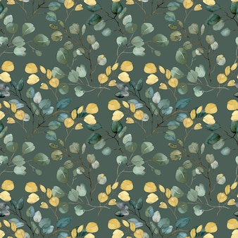 Watercolor gold and green leaves and branches pattern on green background
