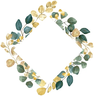 Watercolor golden and green branches square frame on white background
