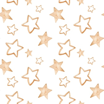Watercolor golden star pattern. hand-drawn seamless background.