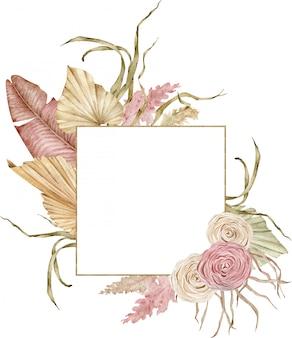 말린 야자수 잎과 장미와 수채화 황금 열 대 프레임. 홍당무와 베이지 색. 보헤미안 웨딩 디자인.