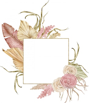 Watercolor golden tropical frame with dried palm tree leaves and roses. blush and beige colors. boho wedding design.