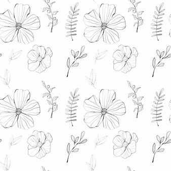 Watercolor graphic floral pattern