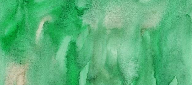 水彩緑の背景バナー。液体の背景、手描き。