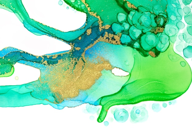 Watercolor green ink drops and paint drips pattern with gold dust texture