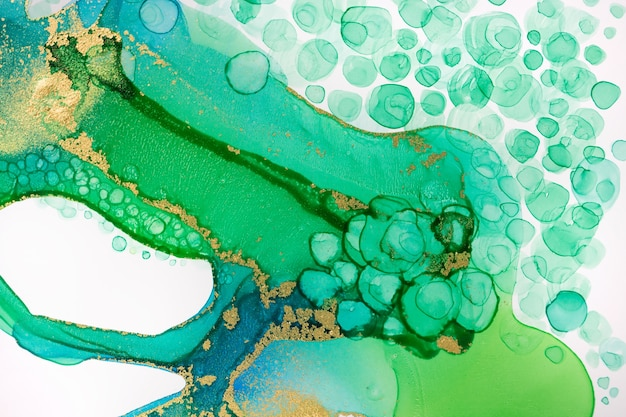 Watercolor green ink drops and paint drips pattern