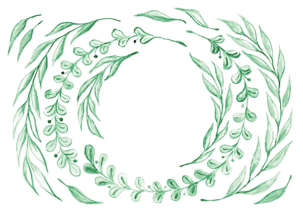 Коллекция акварель зеленые листья и веточки. круглая рамка с акварельными ветками эвкалипта, акварельной зеленью, элементами растений, изолированными на белом