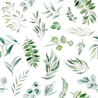 Watercolor green leaves seamless pattern illustration isolated