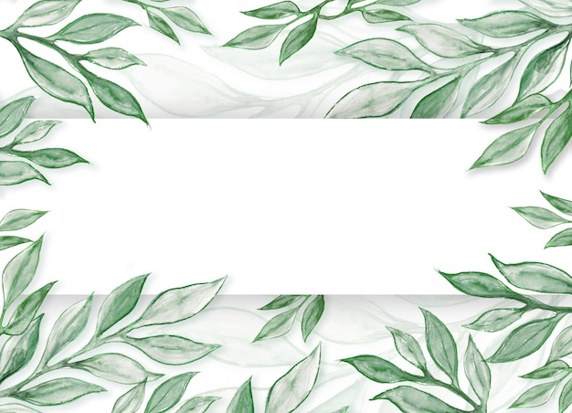 Watercolor green leaves and twigs mockup. blank paper with watercolour eucalyptus branches, aquarel greenery, plant elements with copy space