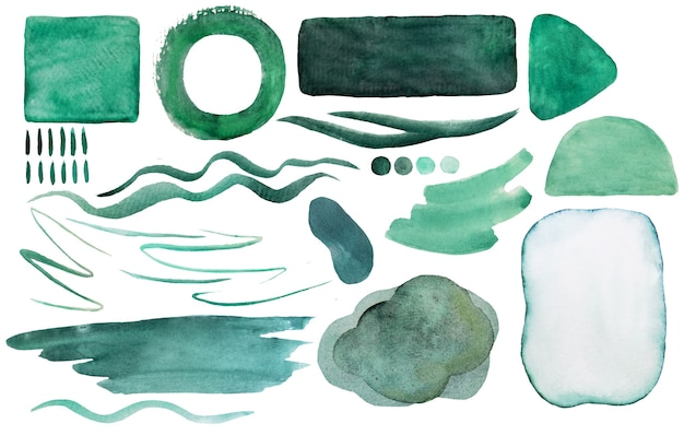 Watercolor green  painted abstract elements