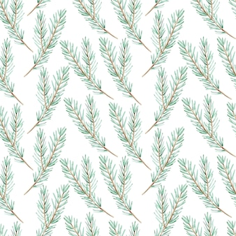 Watercolor green pine branch seamless background. christmas pattern. winter forest endless  hand-drawn botanical illustration.