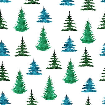 Watercolor green pine trees seamless pattern