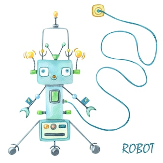 Watercolor green robot on white background with robot text.