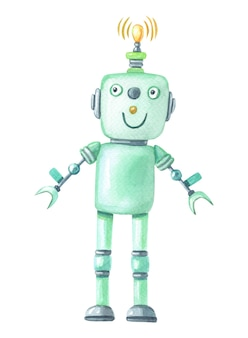 Watercolor green robot on white background.