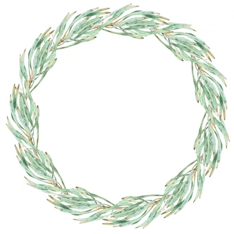Watercolor green wreath made of protea leaves. a round frame isolated on white.