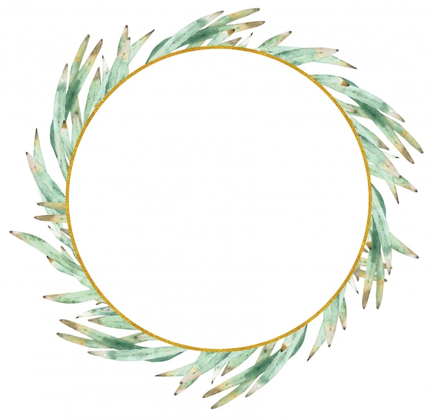 Watercolor green wreath made of protea leaves.