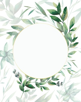 Watercolor greenery card design. hand painted floral template: round plants frame on white background.