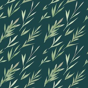 水彩画の緑はシームレスなパターンを残します。緑の植物。手描きの植物の自然なイラスト。水彩の葉の背景アートデザイン。