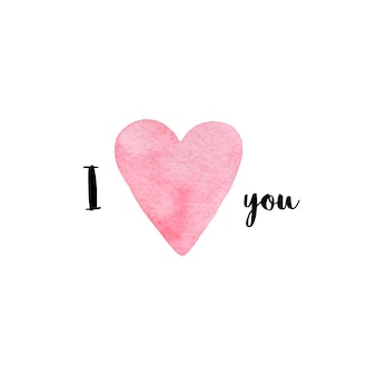 Watercolor greeting card. i love you. valentine's day.