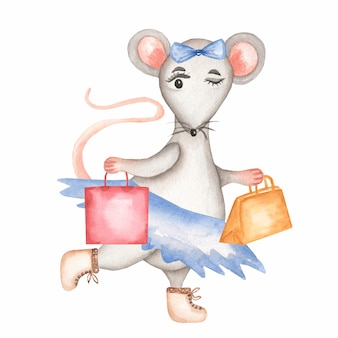 Watercolor grey mouse in a  blue skirt and boots with hand bags