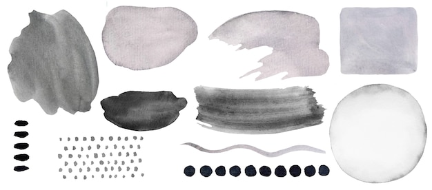 Watercolor grey painted abstract elements. hand drawn modern print set illustration