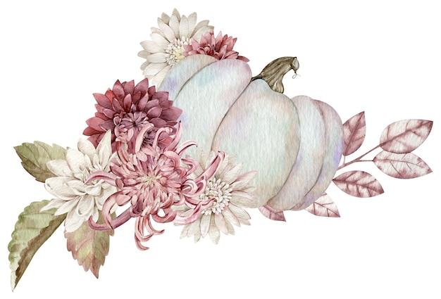 秋の花、紅葉で飾られた水彩の灰色のカボチャ。白い背景で隔離の美しい花のカボチャの配置。