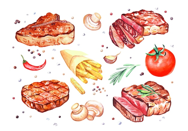 Watercolor grilled beef steaks with mushrooms champignon, pepper, tomato, rosemary, fries. hand drawn illustration isolated on white.