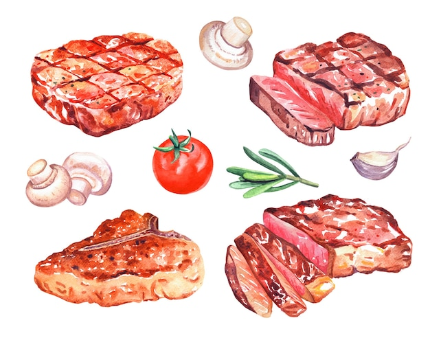 Watercolor grilled beef steaks with mushrooms champignon, pepper, tomato, rosemary. hand drawn illustration isolated on white.