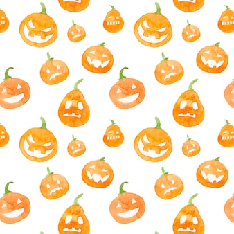 Watercolor halloween pumpkin pattern.