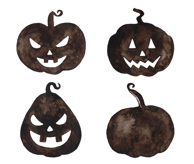 Watercolor halloween pumpkins.