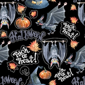 Watercolor halloween seamless pattern with halloween pumpkin and bat.
