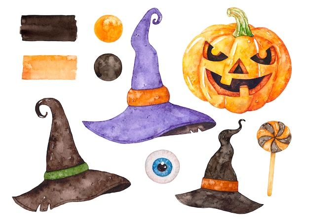 Watercolor halloween set.