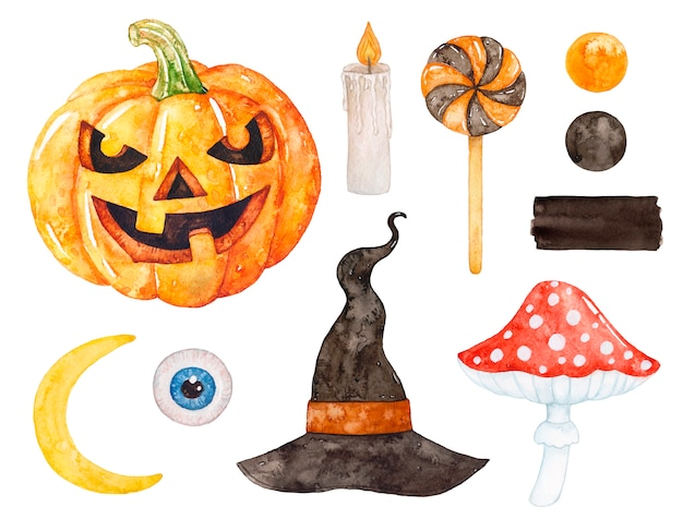 Watercolor halloween witch set.