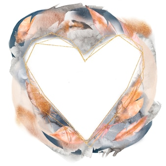 Акварель рисованной абстрактные перья сердца венок иллюстрации