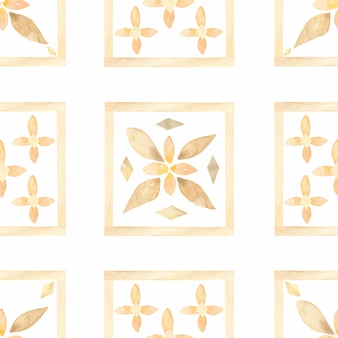 Watercolor hand drawn abstract seamless tiles pattern.