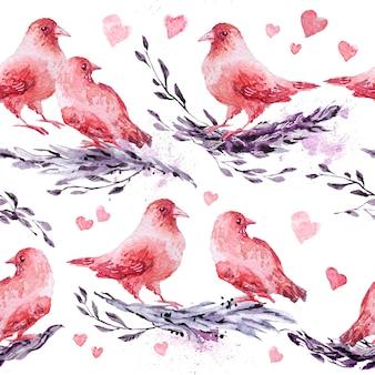 描かれた鳥やブランチと水彩の手描きの芸術的なシームレスパターン。