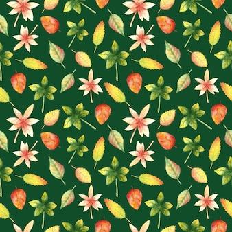 水彩手描きの秋は緑にシームレスなパターンを残します秋の自然植物リピートプリント