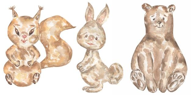 水彩手描きの動物の赤ちゃんのクリップアート。森の動物イラスト、森のウサギ、小さなクマ、リスのクリップアート、キッズウォールアート、ベビーシャワー、バースデーパーティーカード
