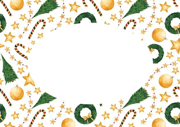 복사 공간이 있는 수채화 손으로 그린 크리스마스 카드. 새 해 빈, 템플릿, 테두리, 프레임입니다. 엽서, 태그, 디자인 및 장식을 위한 겨울 휴가 디자인 요소입니다.