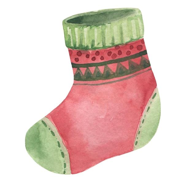 白い背景で隔離の水彩手描きクリスマス赤い靴下